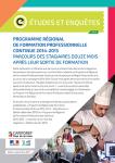 Programme régional de formation professionnelle continue 2014-2015 : parcours des stagiaires douze mois après leur sortie de formation