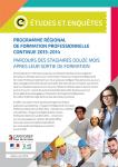 Programme régional de formation professionnelle continue 2013-2014 : parcours des stagiaires douze mois après leur sortie de formation
